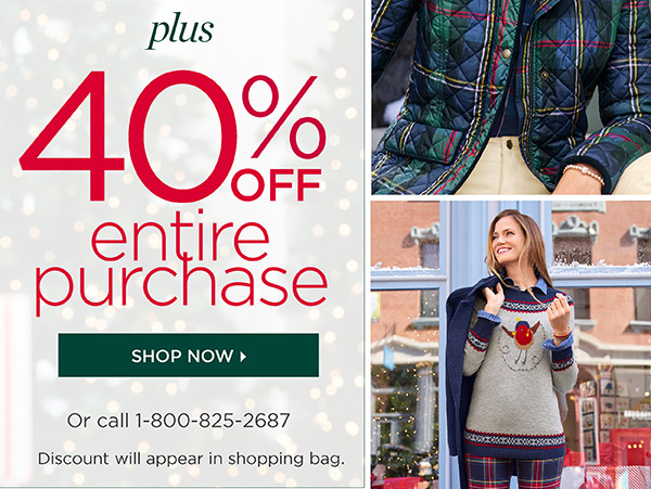 50% off one item (regular price). Plus, 40% off entire purchase. Shop Now
